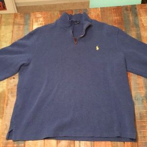 Blue Polo Zip Up Pullover